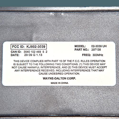 Wayne Dalton Keypad 303 MHz Back
