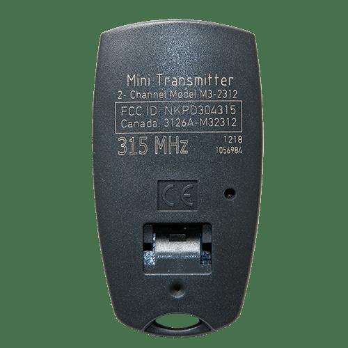 Marantec 2 Button Mini 315 MHz Back