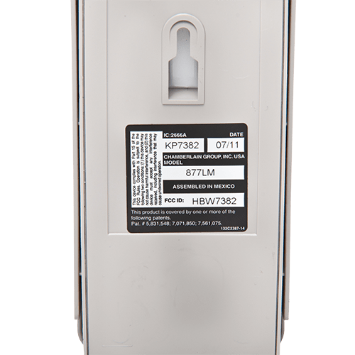 Liftmaster Wireless Keypad Back