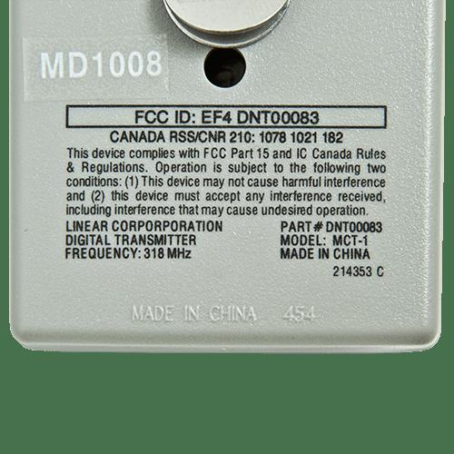Linear MegaCode 1 Button Back